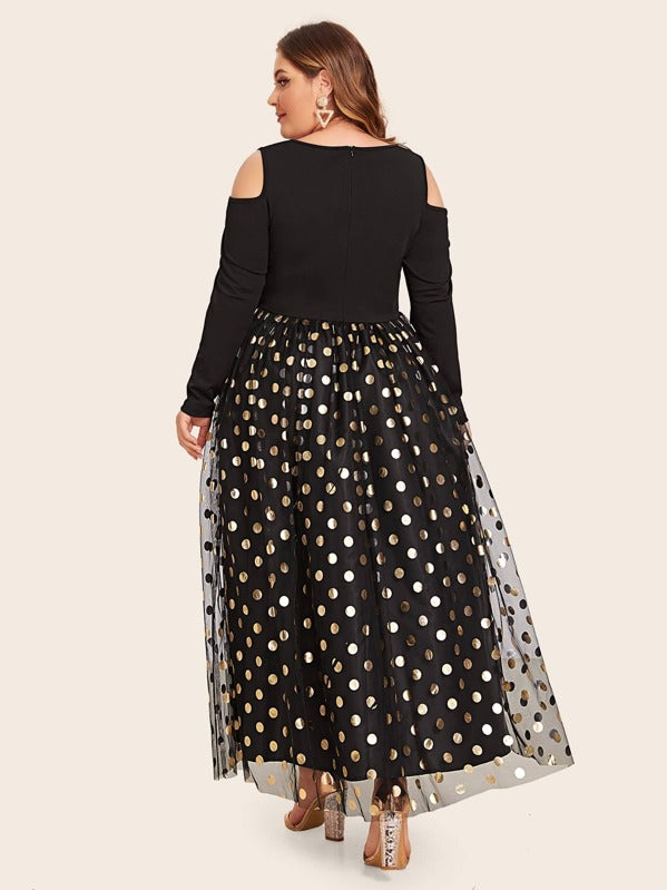 Plus Size Cold Shoulder Gold Dot Mesh Flare Dress