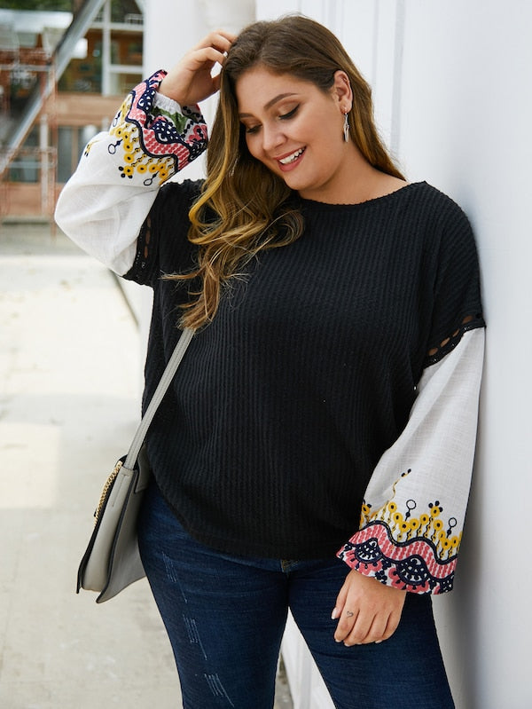 Plus Size Embroidery Hollow Out Sweater Top