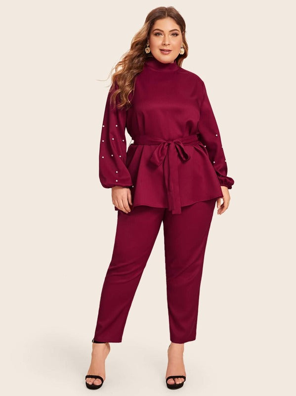 Plus Size Mock Neck Pearls Detail Belted Top & Pants Set