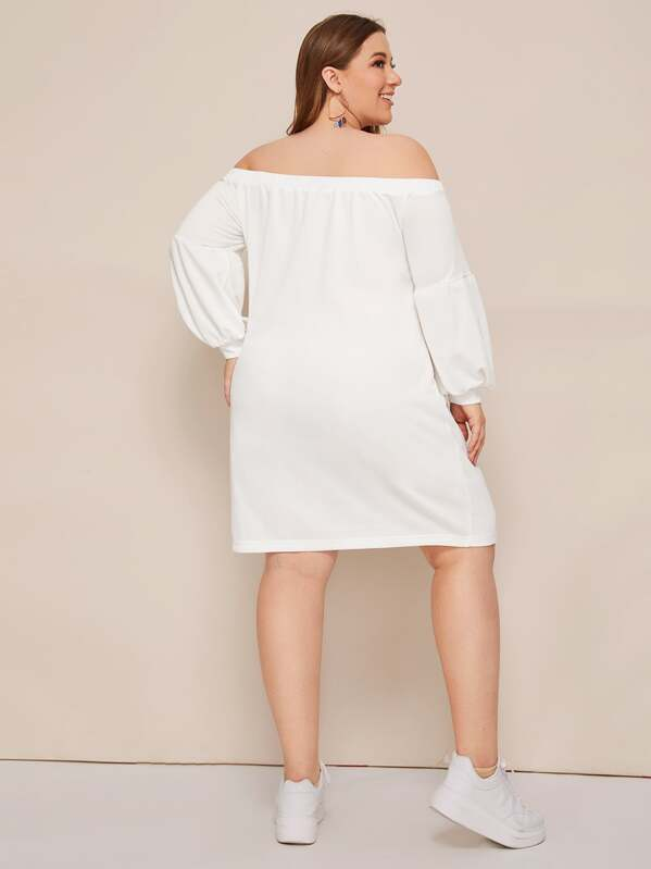 Plus Size Slogan Fringe Studded Patch Bardot Dress
