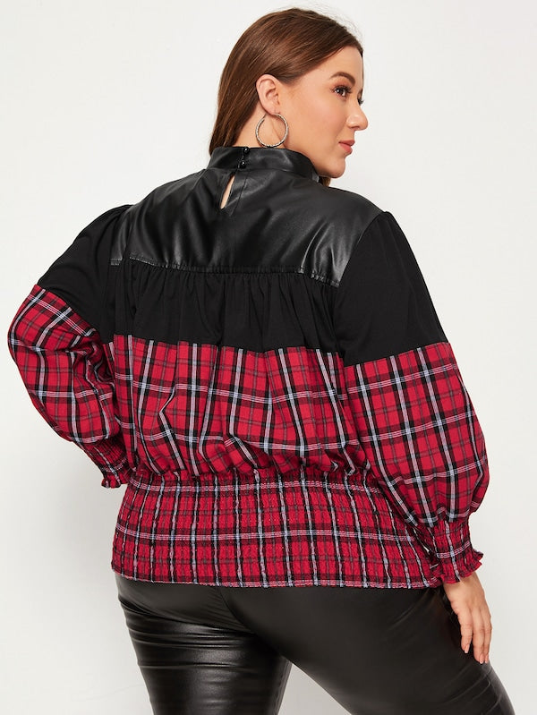 Plus Size Shirred Contrast Plaid Mock Neck Blouse Top