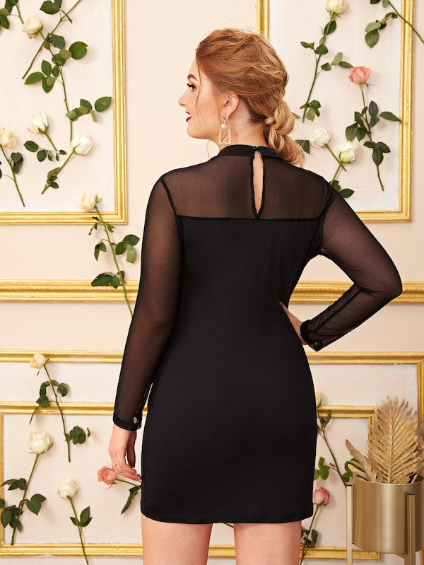 Plus Size Mesh Insert Keyhole Back Bodycon Dress
