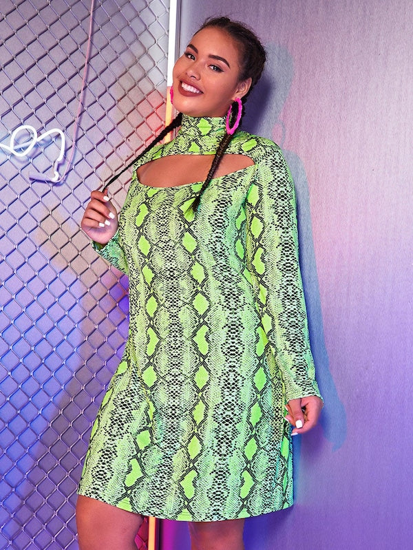 Plus Size Snakeskin Cut Out Front High Neck Dres