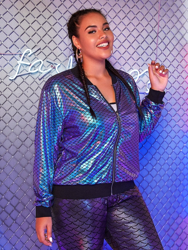 Plus Size Coated Fishscale Pattern Bomber Jacket