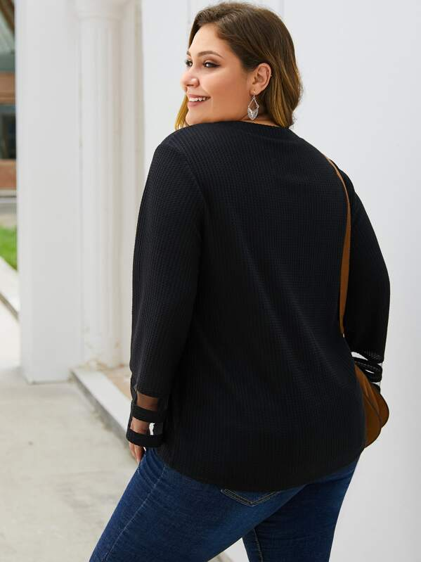 Plus Size Mesh Insert Single Breasted Cardigan Top