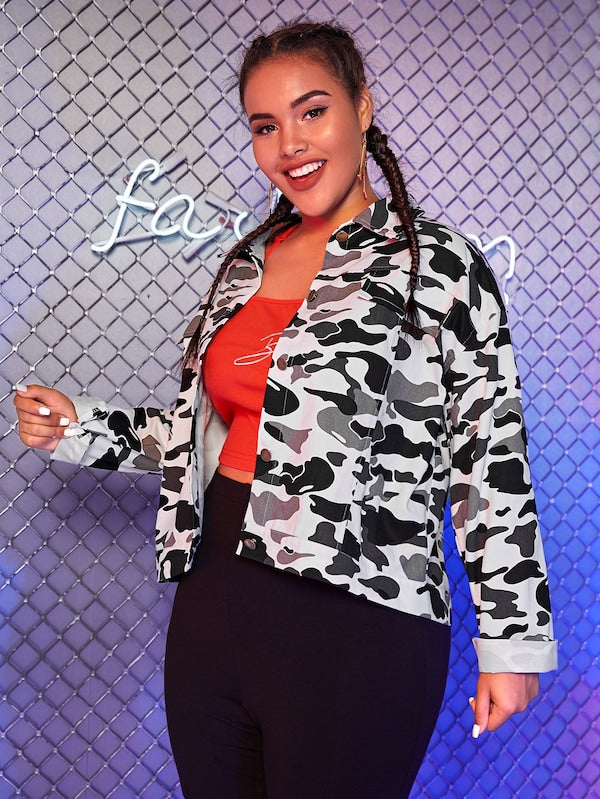 Plus Size Camo Print Single Breasted Denim Jacket Top