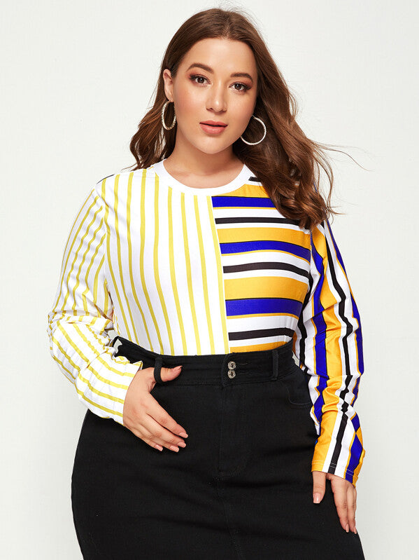 Plus Size Striped Long Sleeve Spliced Top