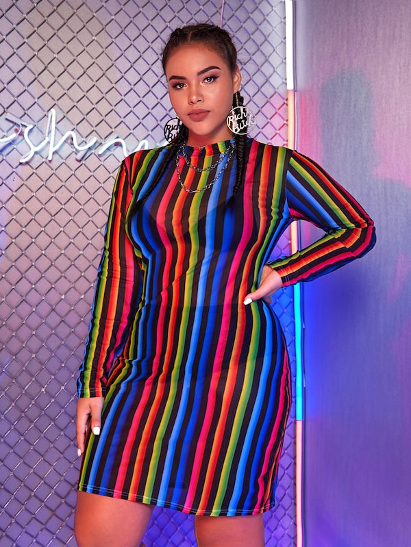Plus Size Rainbow Striped Mock Neck Sheer Dress
