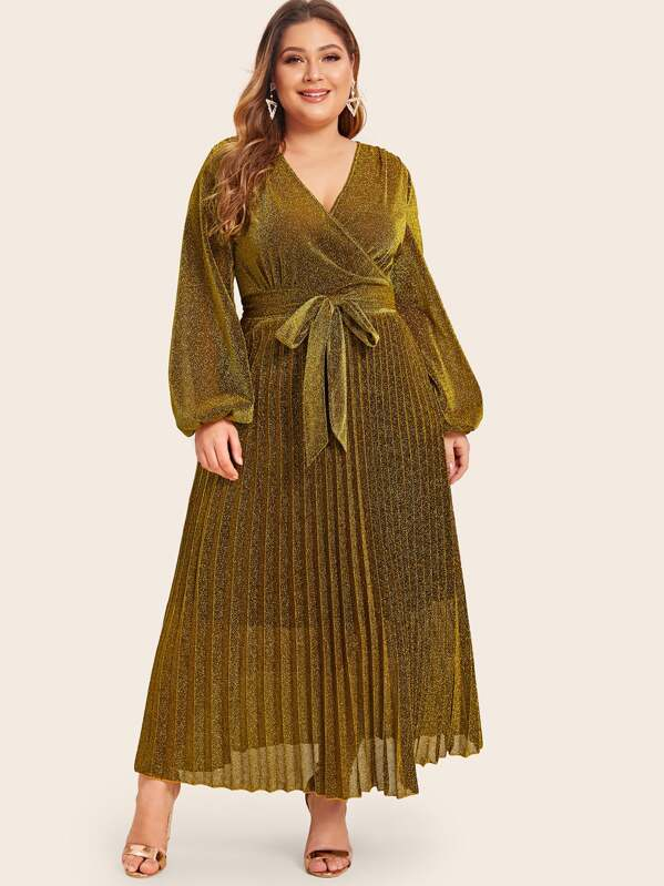 Plus Size Surplice Wrap Belted Pleated Glitter Dress