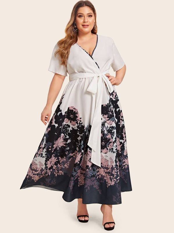 Plus Size Floral Print Tie Front Wrap Dress