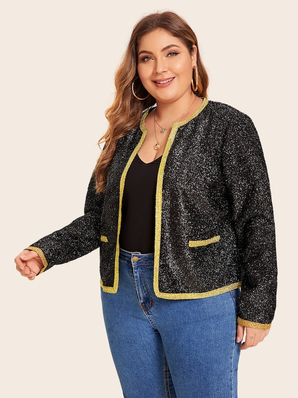 Plus Size Contrast Trim Glitter Jacket