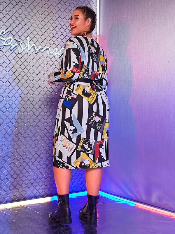 Plus Size Figure Print Color-Block Belted Dress
