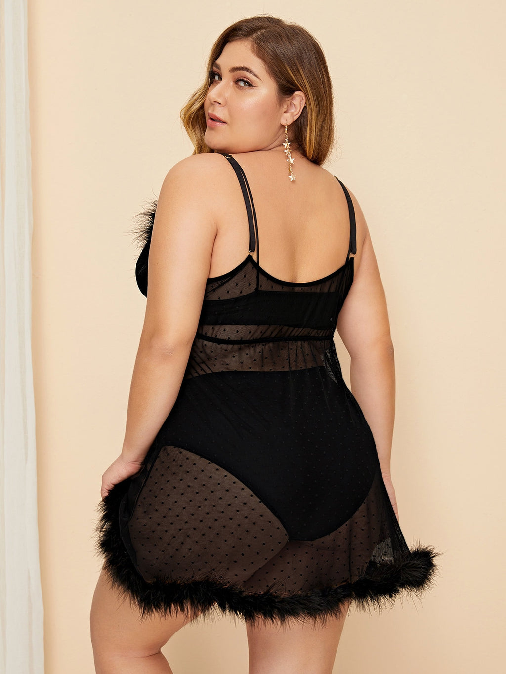 Plus Size Dreamy Contrast Faux Fur Dot Dress With Panty