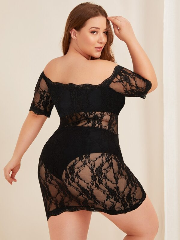 Plus Size Floral Lace Off The Shoulder Dress With Panty