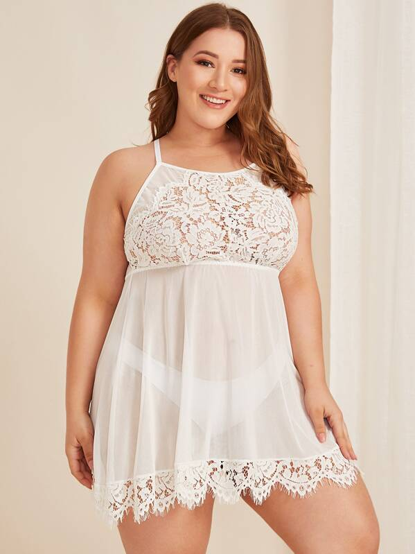Plus Size Contrast Lace Criss Cross Dress With Panty