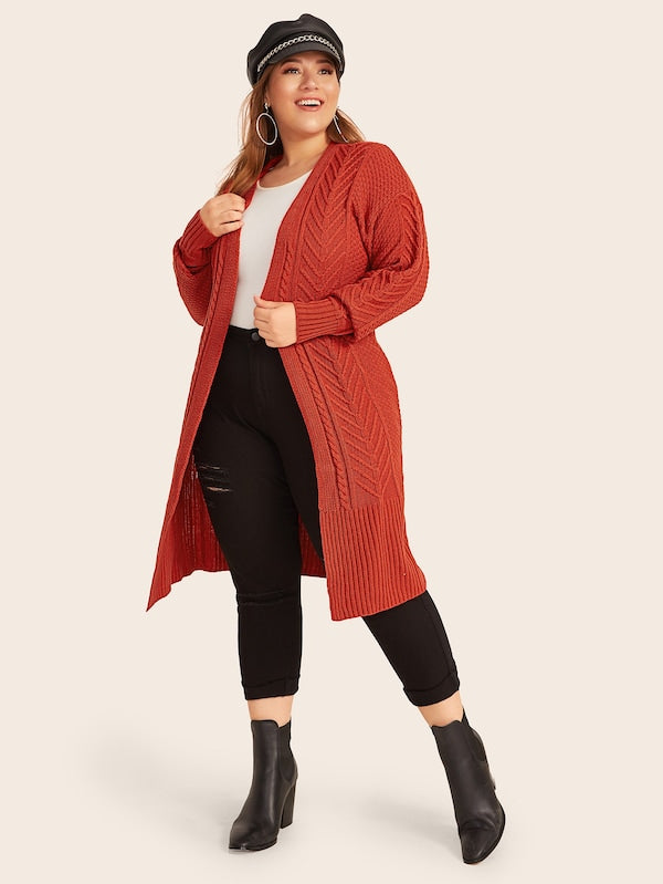 Plus Size Mix Knit Drop Top Shoulder Cardigan