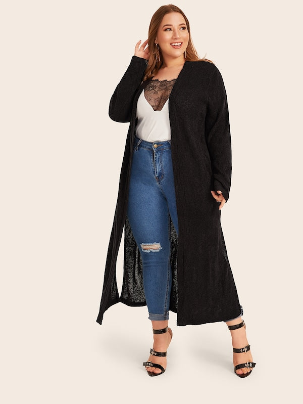 Plus Size Solid Split Side Maxi Top Cardigan