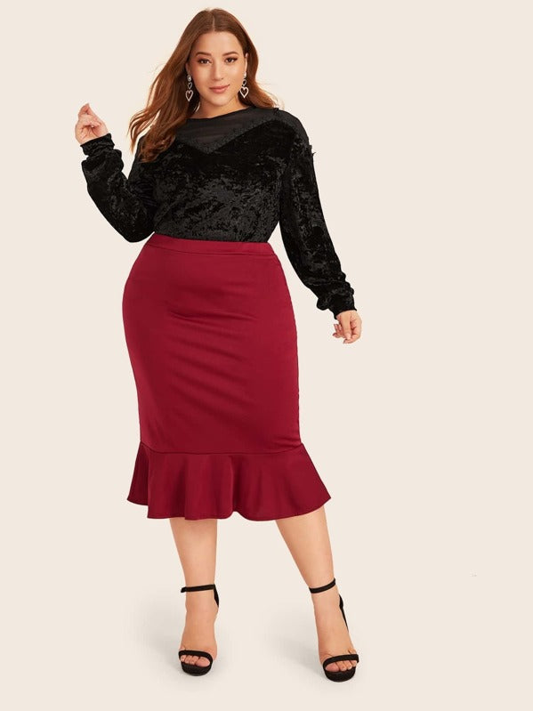 Plus Size Mesh Panel Velvet Top