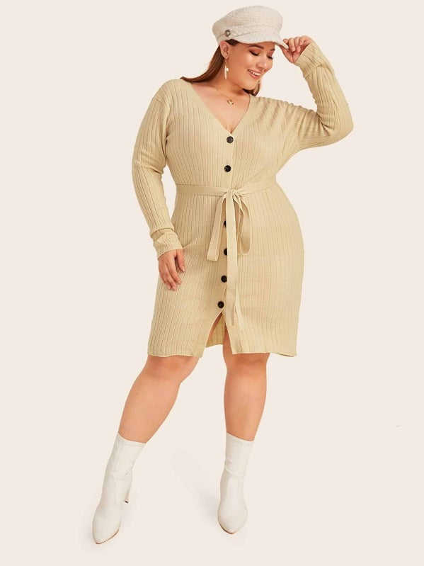Plus Size Button Through Belted Sweater Top Dress