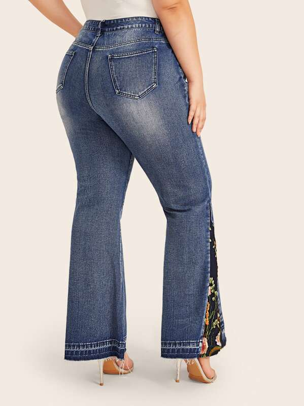 Plus Size Embroidered Flower Flare Leg Jeans