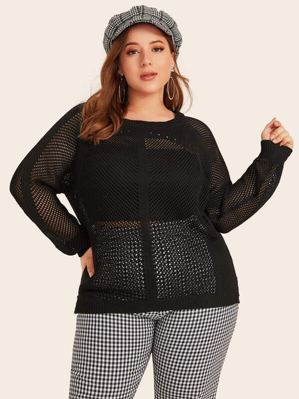 Plus Size Raglan Sleeve Loose Knit Jumper