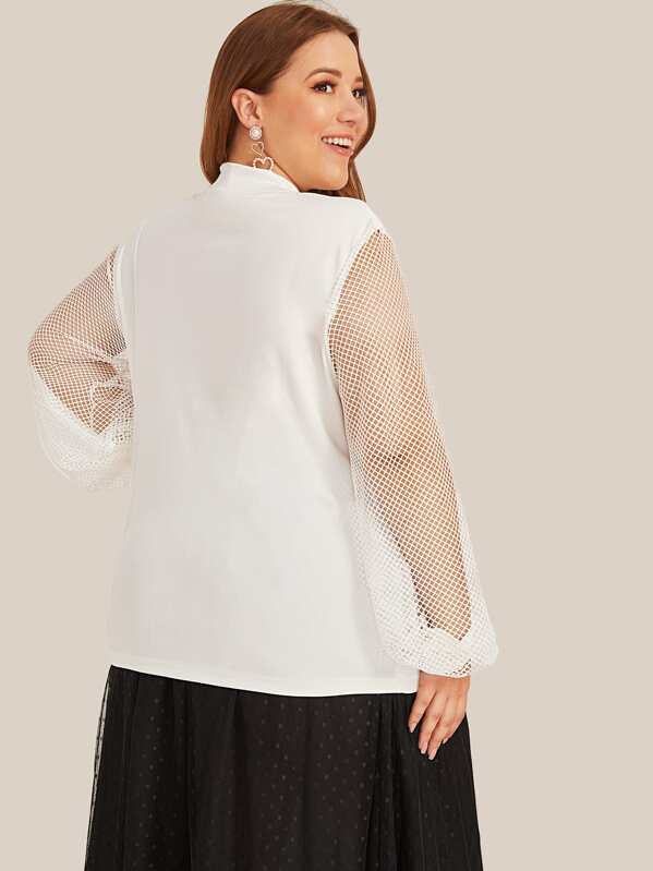 Plus Size Fishnet Panel Tie Neck Blouse