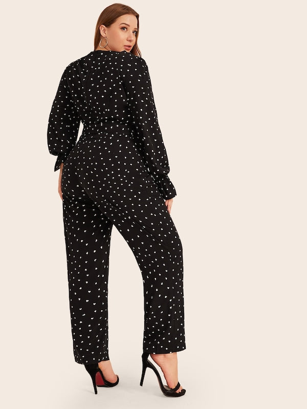 Plus Size Confetti Heart Print Belted Jumpsuit