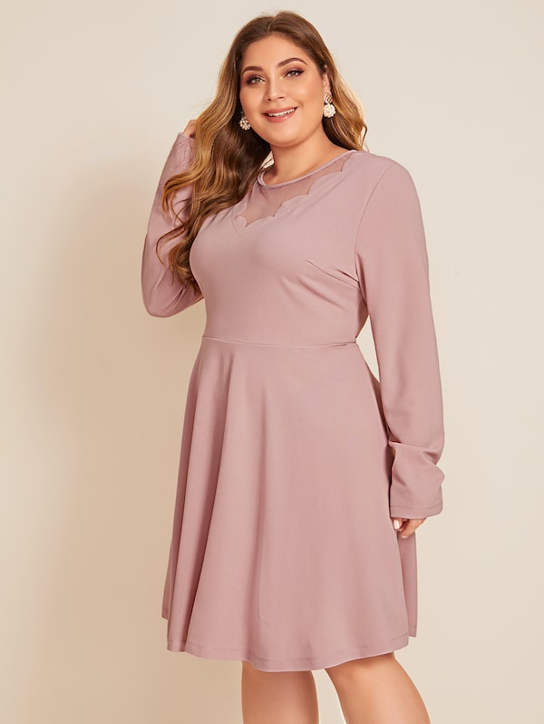 Plus Size Mesh Insert Scallop Trim Flare Dress