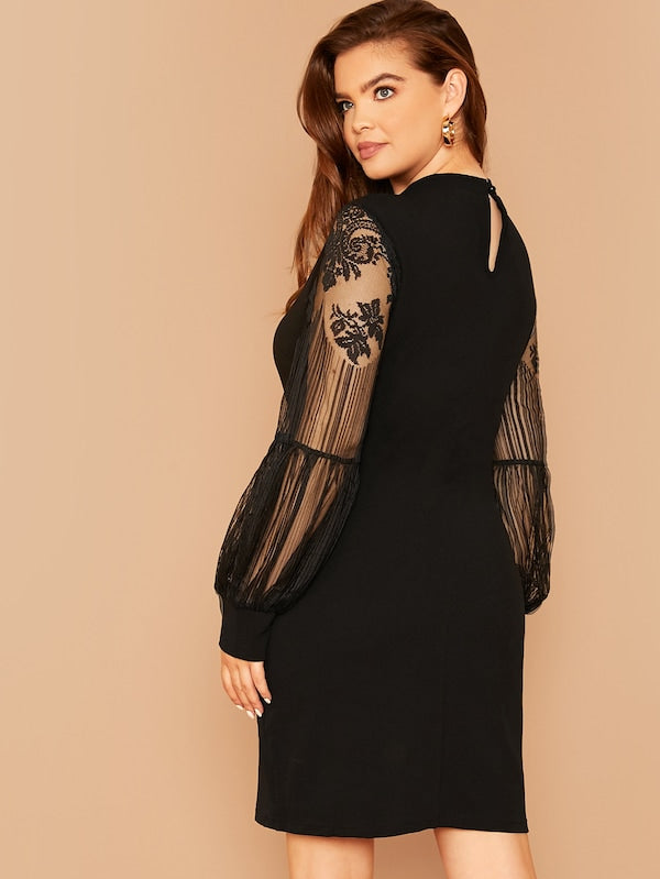Plus Size Mock-Neck Lace Lantern Sleeve Dress