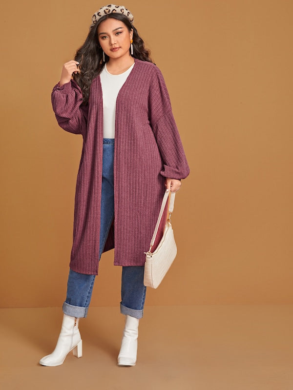 Plus Size Open Front Drop Shoulder Top Rib-Knit Coat