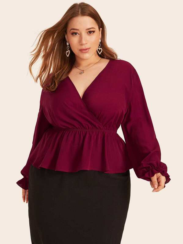 Plus Surplice Neck Peplum Top