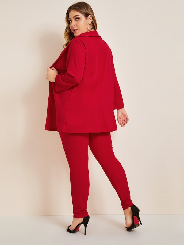 Plus Size Shawl Collar Blazer Top & Skinny Pants Set