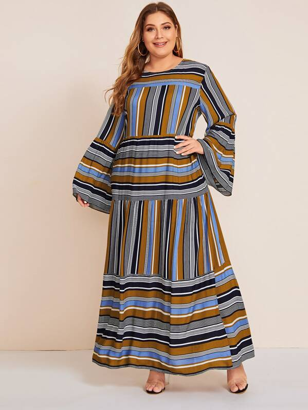 Plus Size Block Stripe Ruffle Hem Maxi Dress