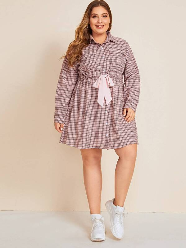Plus Size Plaid Tie Front Shirt Dress
