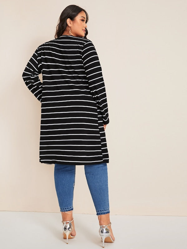 Plus Size Striped Open Front Coat Top