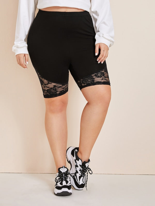 Plus Size Lace Panel Cycling Shorts