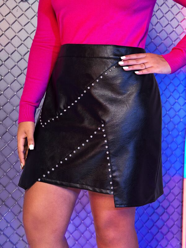Plus Size Beaded Zip Back PU Skirt