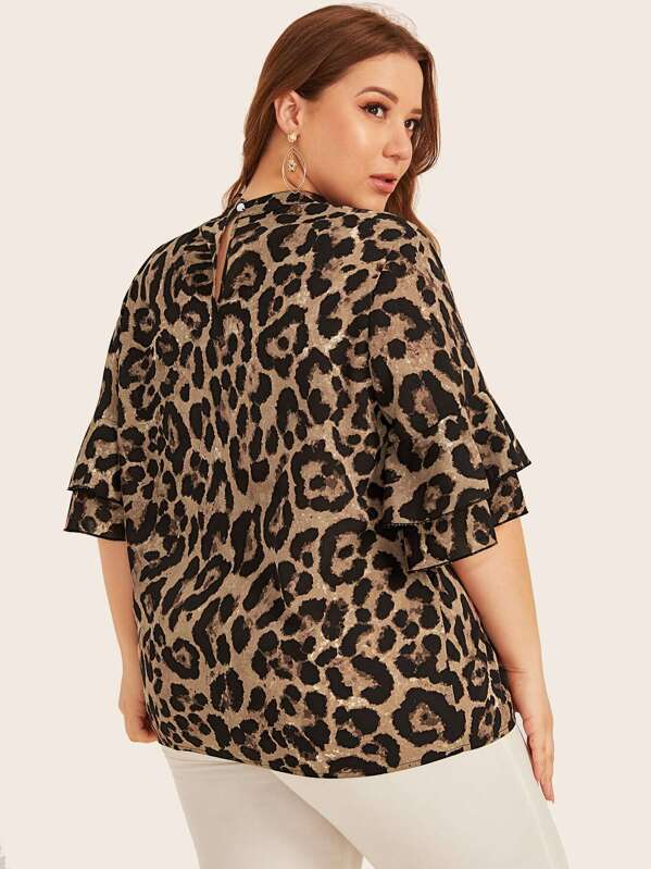 Plus Size Leopard Print Keyhole Neck Ruffle Cuff Top