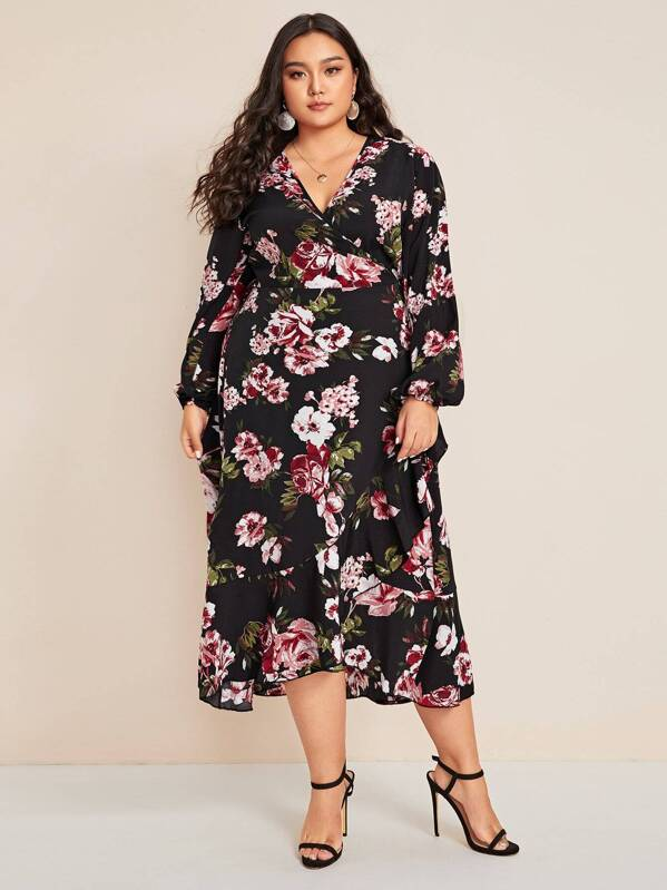 Plus Size Floral Print Lantern Sleeve Ruffle Hem Dress