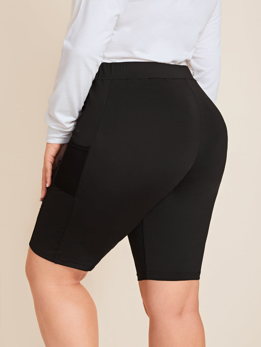 Plus Size Mesh Pocket Patched Side Cycling Shorts