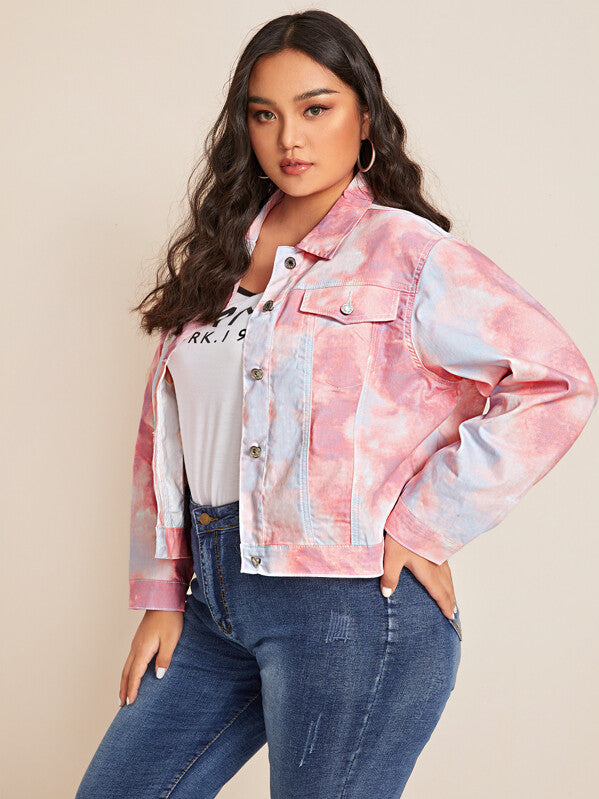 Plus Size Tie Dye Button Up Denim Jacket Top