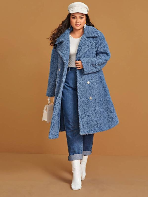 Plus Size Notch Collar Double Breasted Front Teddy Coat Top