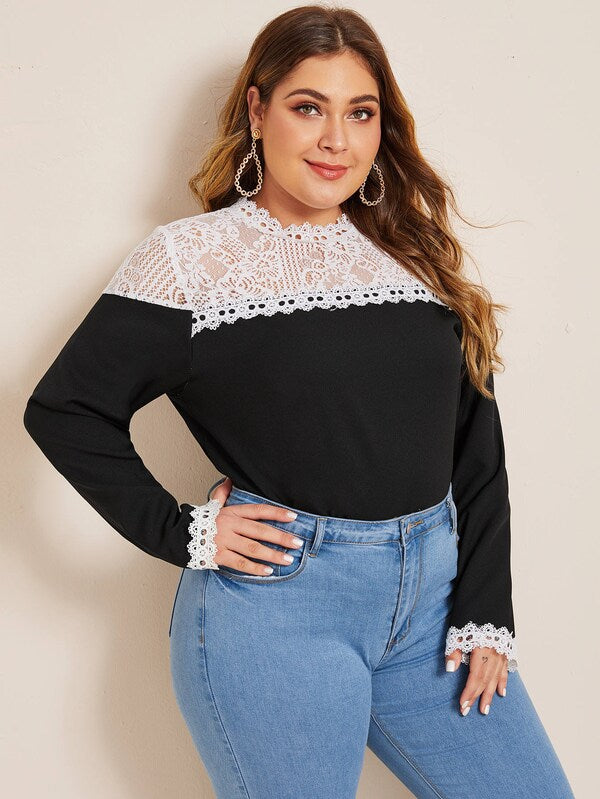 Plus Size Guipure Lace Yoke Blouse Top