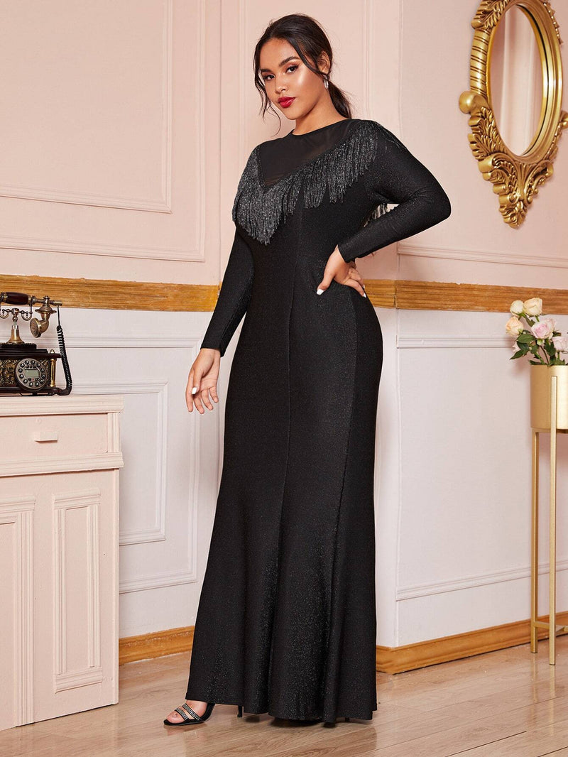 Plus Size Glamour Sparkling Fringe Mermaid Maxi Dress