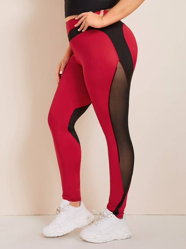 Plus Size Mesh Panel Skinny Leggings