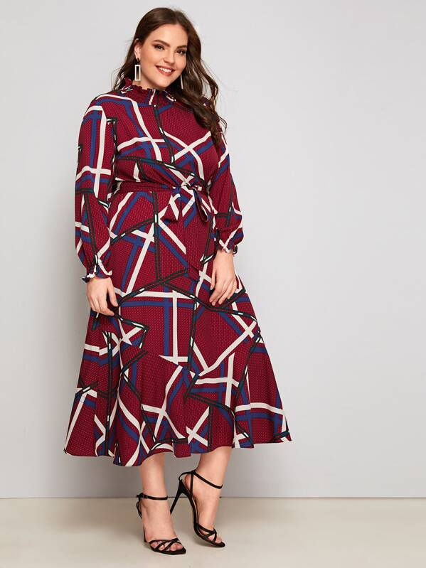 Plus Size Geo Print Ruffle Cuff Belted Dress