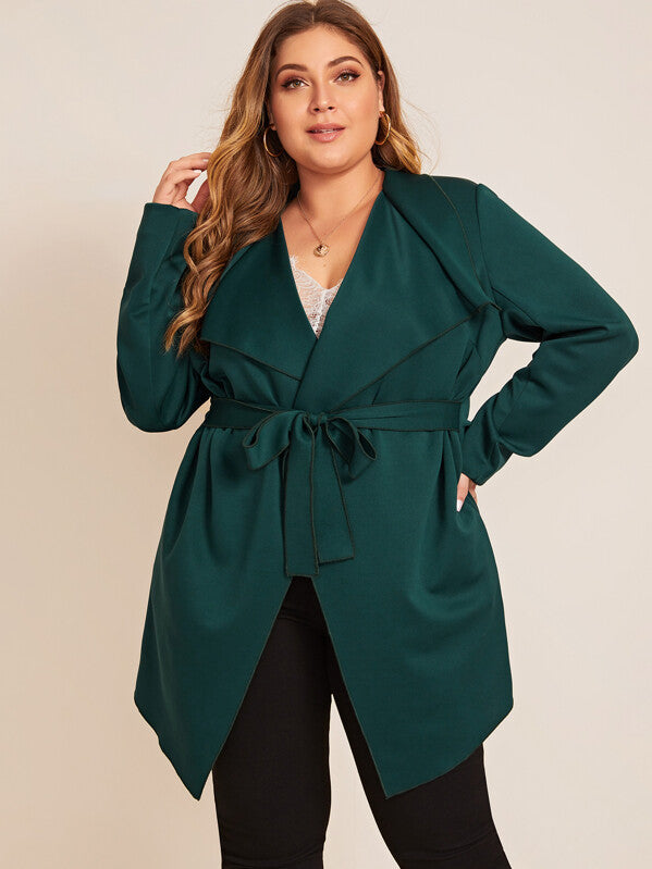 Plus Size Waterfall Neck Belted Trench Coat Top