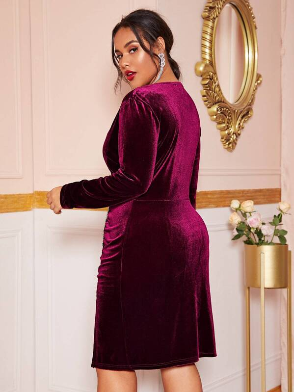 Plus Size Rhinestone Detail Slit Hem Velvet Dress