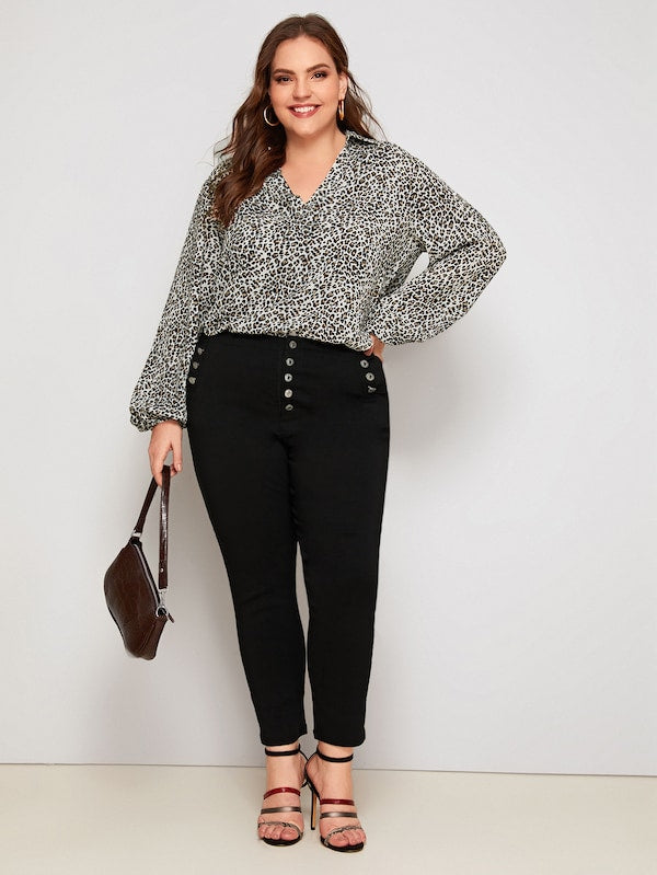 Plus Size Notch Collar Lantern Sleeve Leopard Print Top