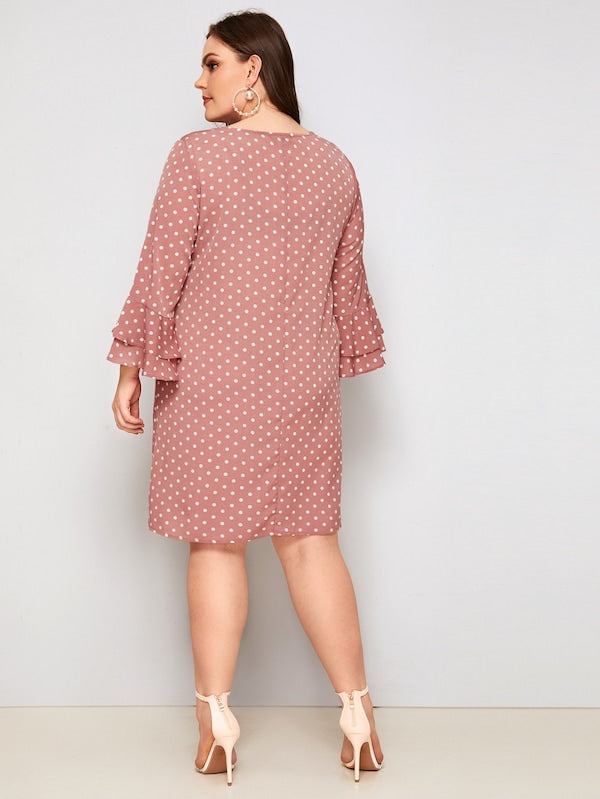 Plus Size Layered Flounce Sleeve Polka-Dot Dress